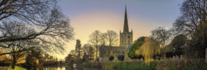 Oxfordshire, Oxfordshire cathedral, Sunset, Mirror image