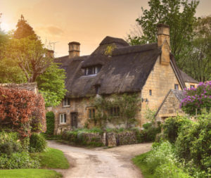 Thatched Cotswold cottage, Stanton, Gloucestershire, England.